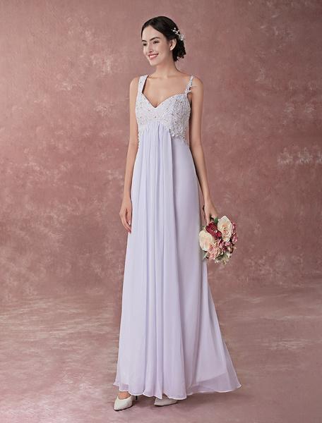 Milanoo White Wedding Dresses Beach Boho Chiffon Lace Spaghetti Straps Empire Waist Floor Length Bridal Dress