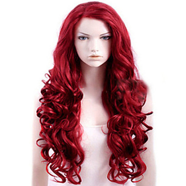 Slanted Bangs Red Long Curly Hair Big Wave Anime Chemical Fiber Hair Wig