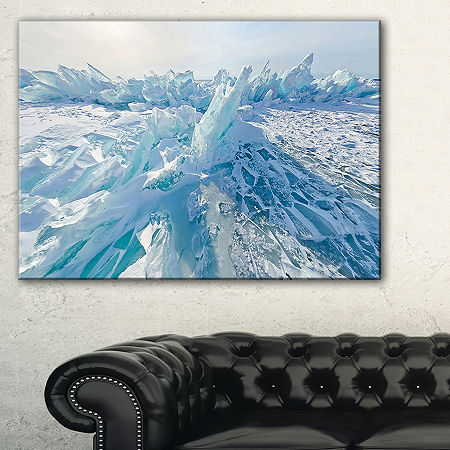 Designart Blue Ice Hummocks In Siberia Lake BaikalLandscape Artwork Canvas, One Size , Blue