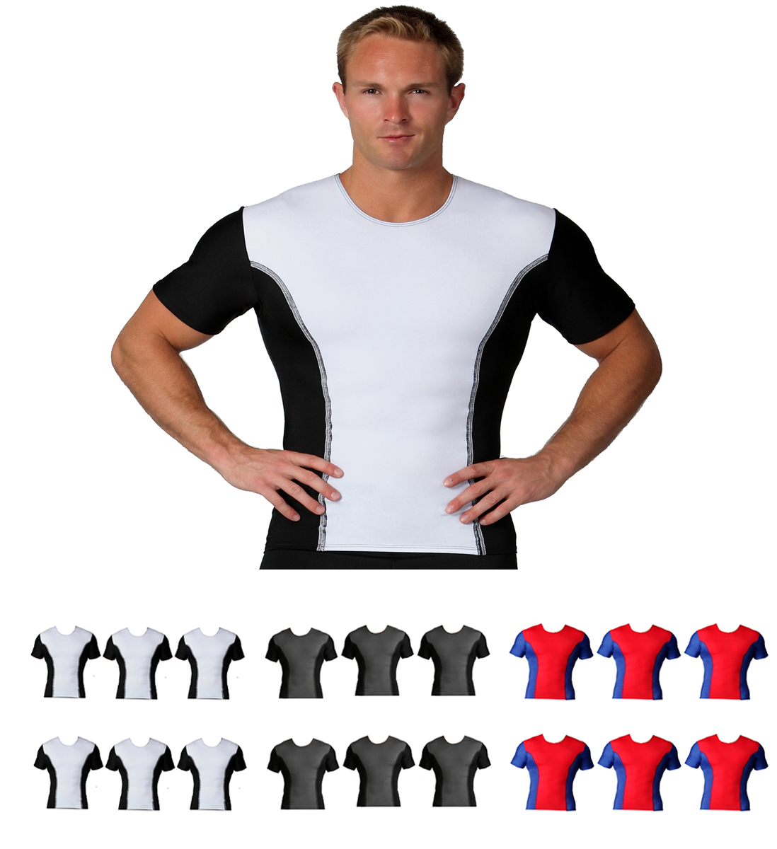 6 Pack IS PRO Activewear Two-tone crew-neck w/contrast stitching TA00TT6