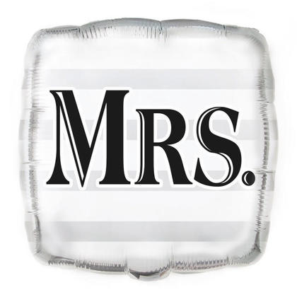 Wedding Foil Balloon Silver Mrs. Square Shape 18