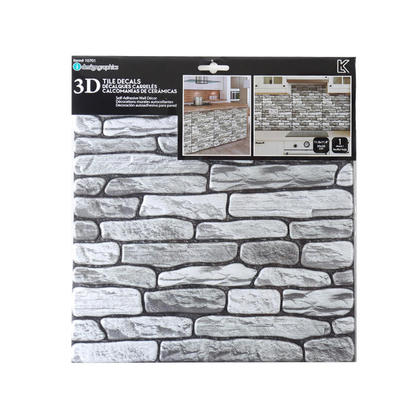 3D Tile Peel and Stick Self-Adhesive Wall Decals, Grey Stone, 11.8