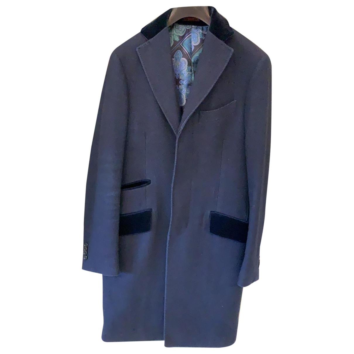 Etro \N Navy Wool coat  for Men 48 IT