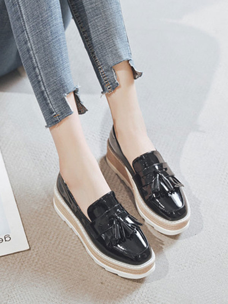 Milanoo Stylish Oxfords Chic Round Toe PU Leather