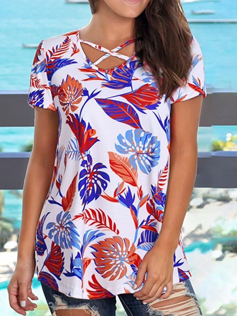 Ericdress Short Sleeve V-Neck Color Block Fashion T-Shirt