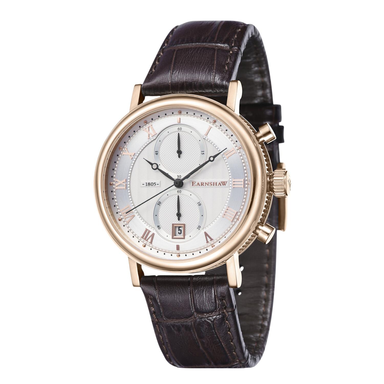 Thomas Earnshaw Men's Beaufort Chronograph ES-8100-05 Silver Leather Japanese Quartz Fashion Watch