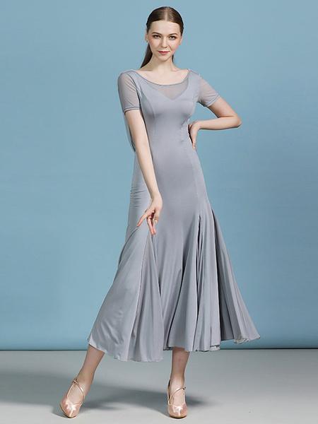 Milanoo Ballroom Dance Costumes Silk Ruched Ruffle Dress Dancing Wear