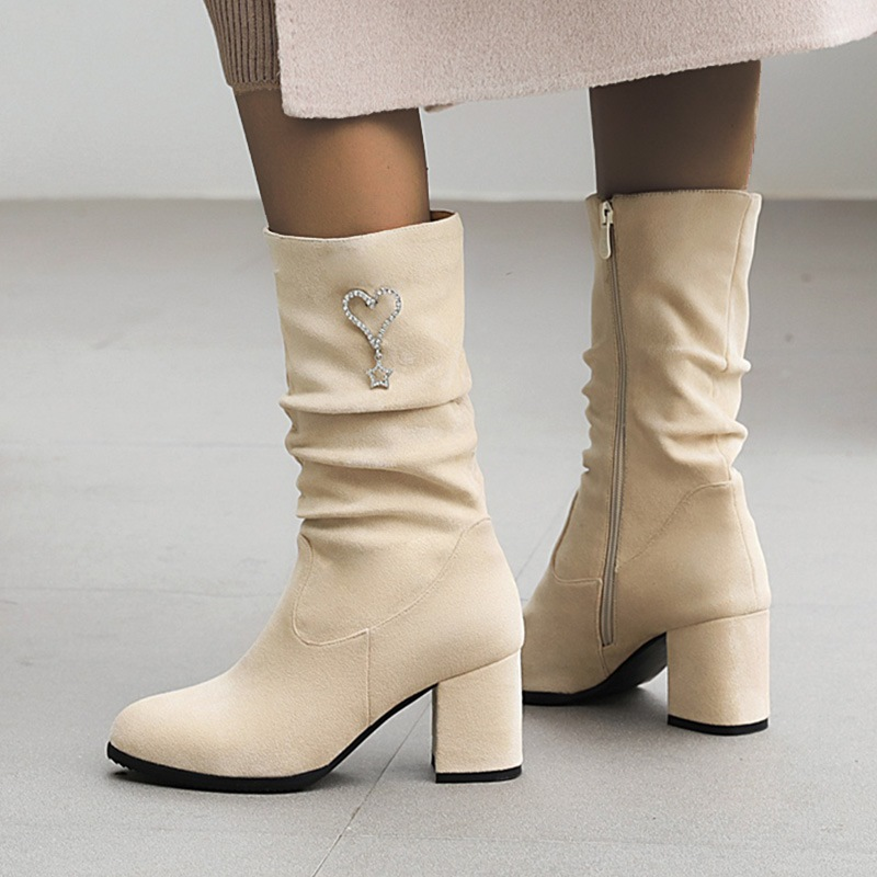 Ericdress Plain Chunky Heel Side Zipper OL Boots
