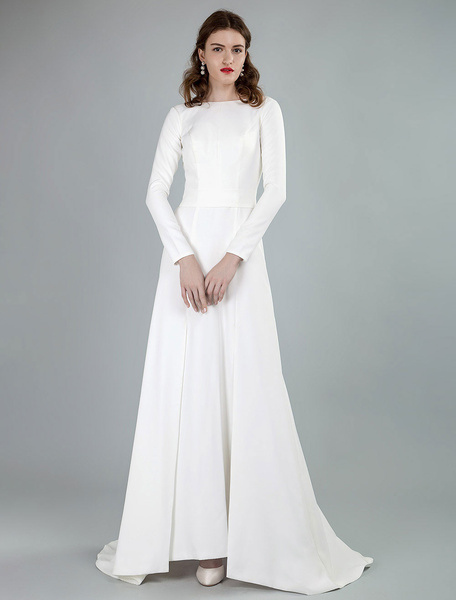 Milanoo Simple Wedding Dress Lycra Spandex Bateau Neck Long Sleeves Split Front A Line Bridal Dresses