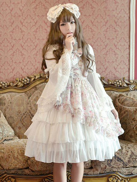 Milanoo Classic Lolita Dress JSK Antique Clock Printed Chiffon Ruffled Bow Layered Lolita Jumper Skirt Original Design