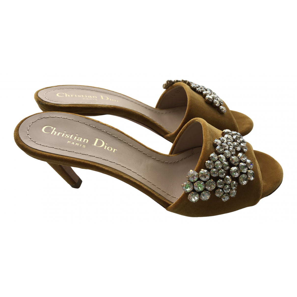Dior \N Camel Velvet Sandals for Women 37 EU