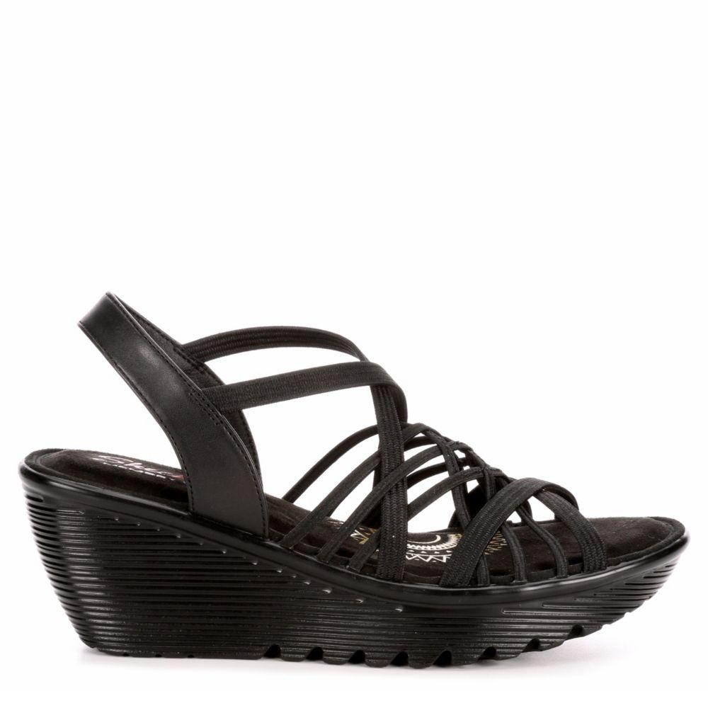 Skechers Womens Parallel Crossed Wires Wedge Sandal