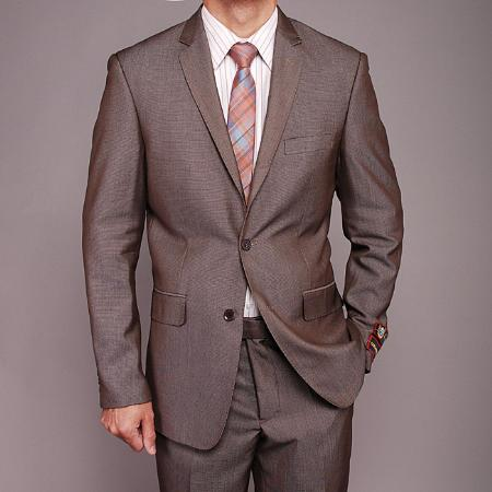 2 Button Taupe Birdseye Slim fit Suit Mens Cheap