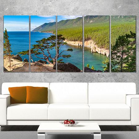 Designart Lake Baikal On Summer Day Landscape Canvas Art Print - 4 Panels, One Size , Blue