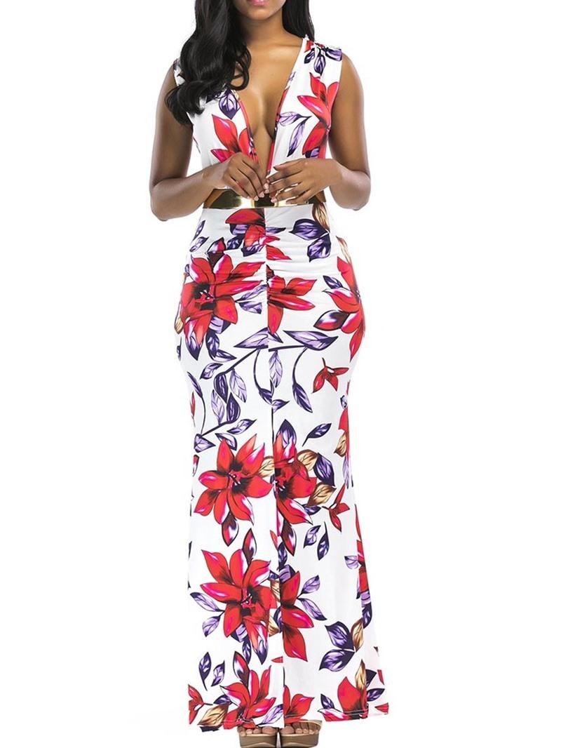 Ericdress Floral Print Bodycon Sexy Split V-Neck Ankle-Length Dress