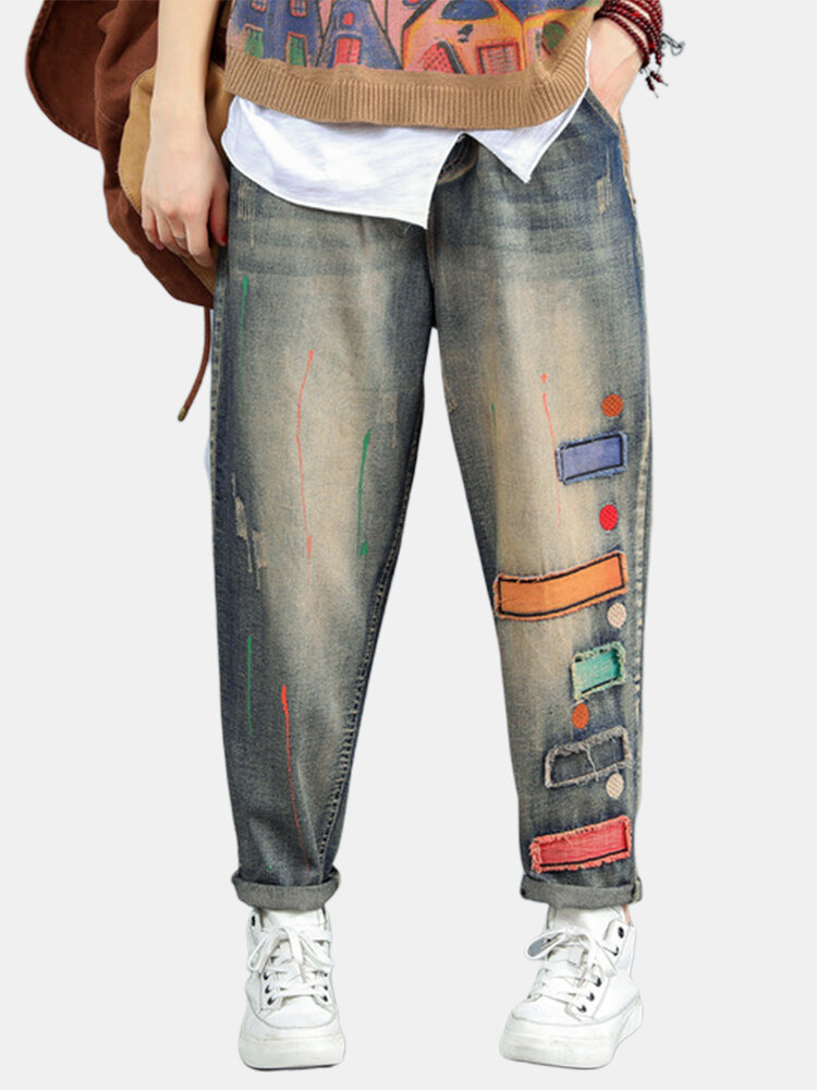 Geometric Patchwork Elastic Waist Jeans For Women