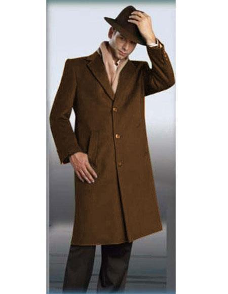 Mens Cognac Authentic Alberto Nardoni Brand Full Length Coat Topcoat