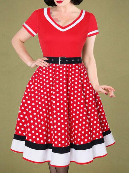 Milanoo 1950s Costume Pin Up Girl Polka Dot Vintage Dress