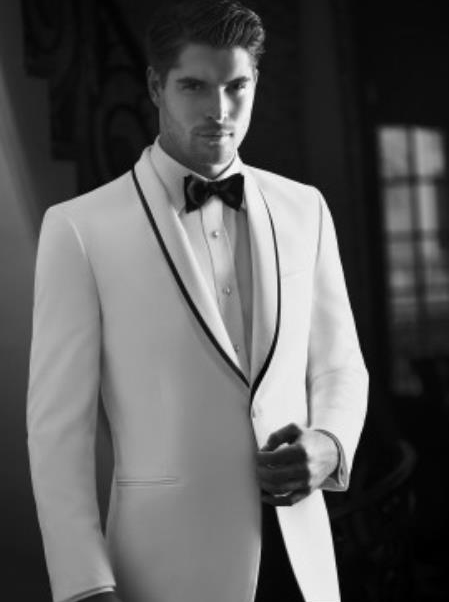 Waverly White 1-Button Shawl Tuxedo