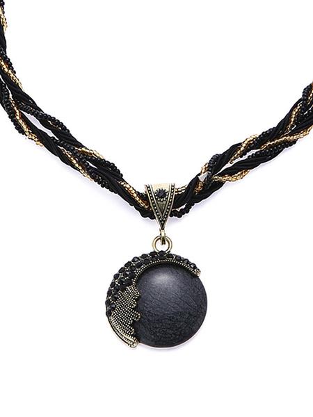 Milanoo Necklaces Light Brown Metal Rhinestone Women Jewelry