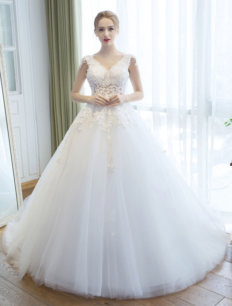 Milanoo Wedding Dresses Princess Ball Gown Ivory Bridal Gown V Neck Illusion Backless Lace Applique Tulle Bridal Dress With Train