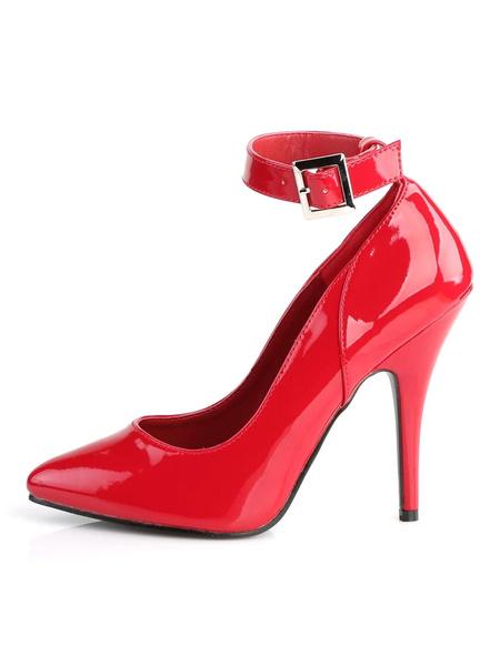 Milanoo Women's High Heels Slip-On Pointed Toe Stiletto Heel Sequins Sexy Vintage Ankle Straps Pumps
