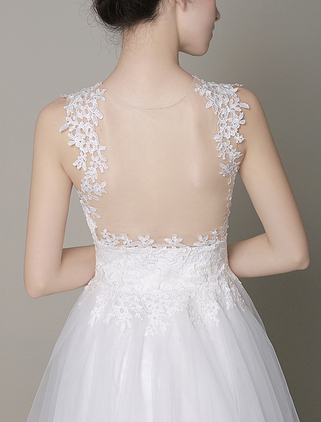 Milanoo Ivory Wedding Dress Illusion Deep-V Strapless Lace Tulle Wedding Gown
