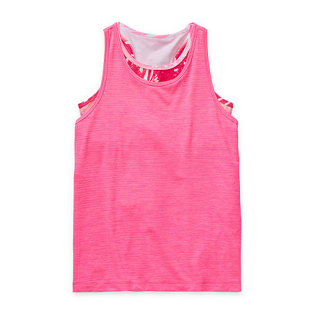 Xersion Little & Big Girls Plus 2-pc. Crew Neck Tank Top, Large (14) , Pink