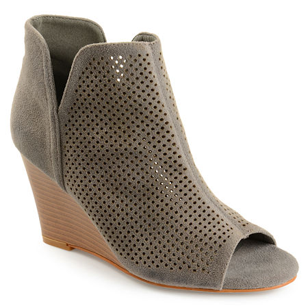 Journee Collection Womens Andies Wedge Heel Pull-on Booties, 6 1/2 Medium, Gray