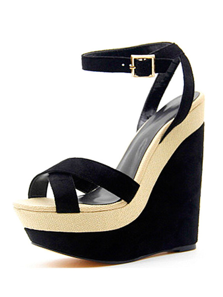 Milanoo Women's Black Wedge Sandals Suede Platform Heels Open Toe Buckle Detail Ankle Strap Sandal Shoes