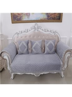 Purple Classical Velvet Embroidery Design Cushion Slip Resistant Sofa Covers