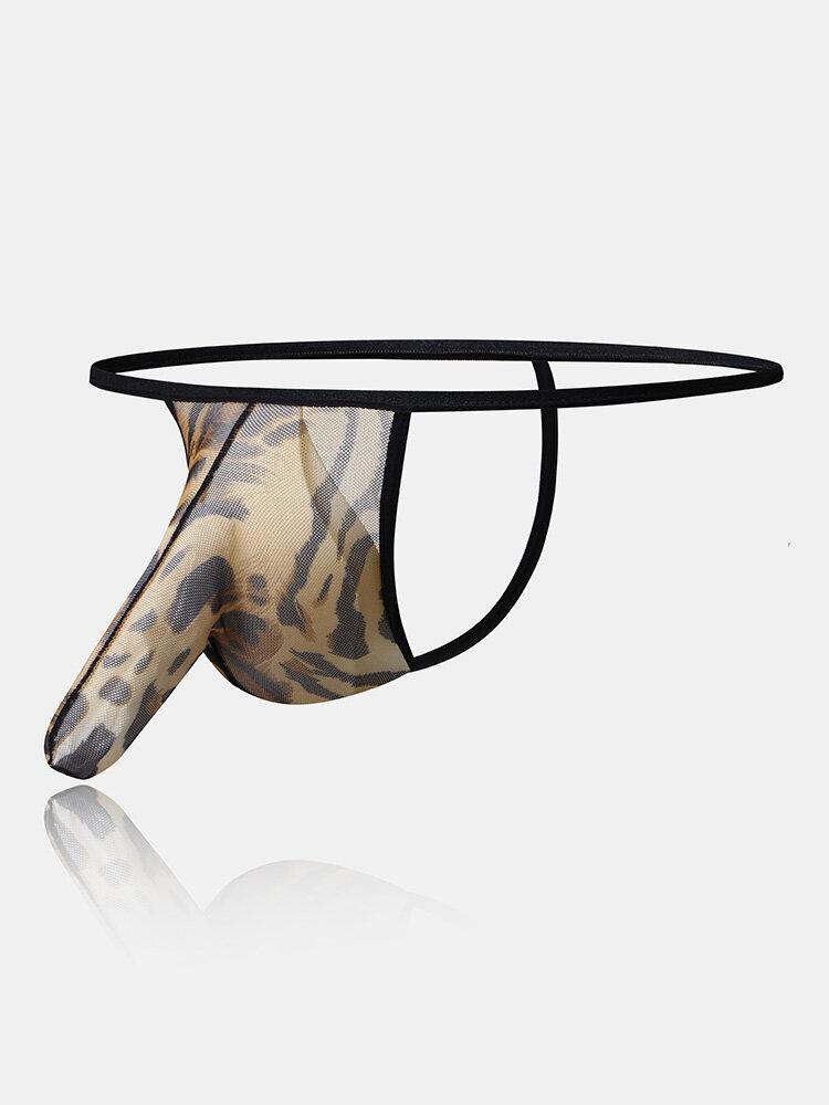 Mens Sexy Leopard Grain Elephant Bikini G String Khaki Thin Breathable Thongs Underwear
