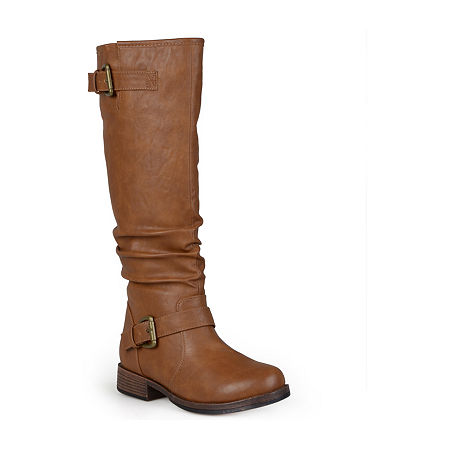 Journee Collection Womens Stormy Wide Calf Riding Boots, 8 Medium, Brown