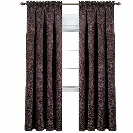 Sutton Blackout Rod-Pocket Single Curtain Panel, One Size , Brown