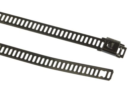 HellermannTyton , MAT12SSC7 Series Black Polyester Coated Stainless Steel Ladder Cable Tie, 330mm x 7 mm