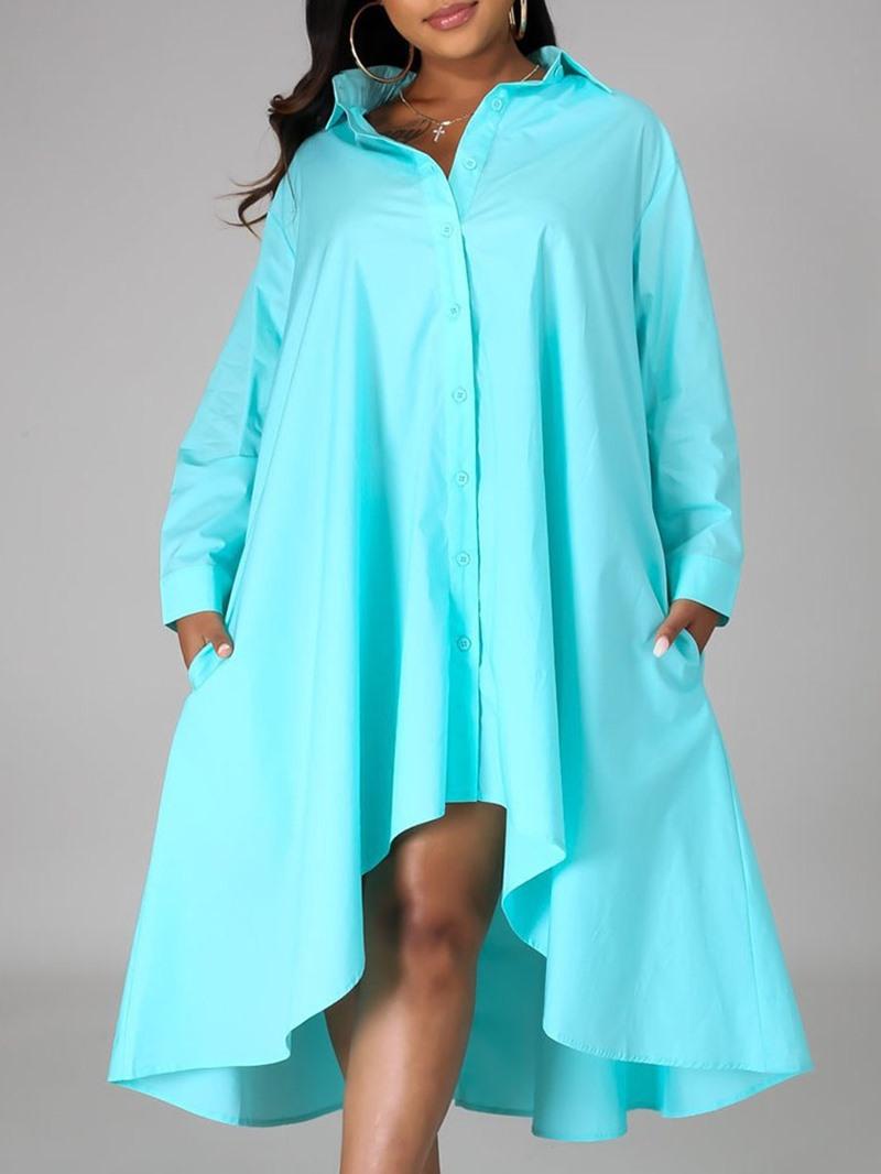 Ericdress Lapel Asymmetric Long Sleeve A-Line Plain Dress