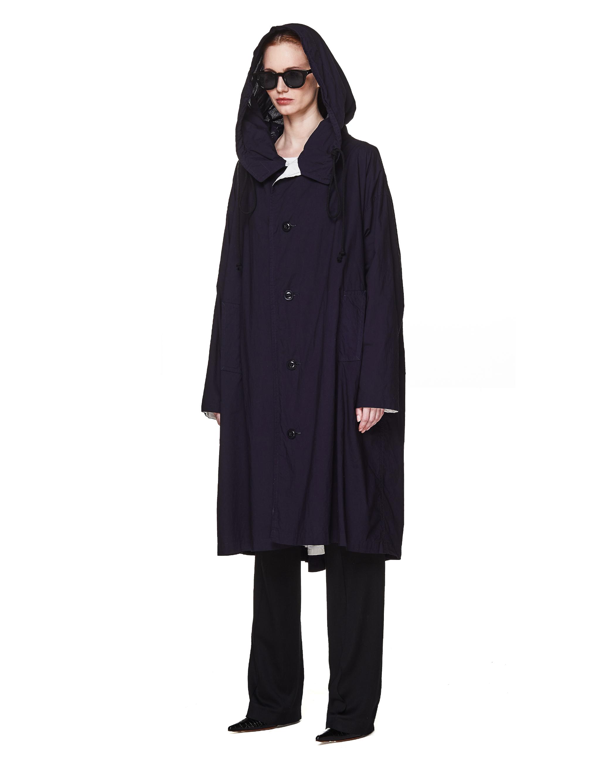 Y's Black Cotton Hooded Coat