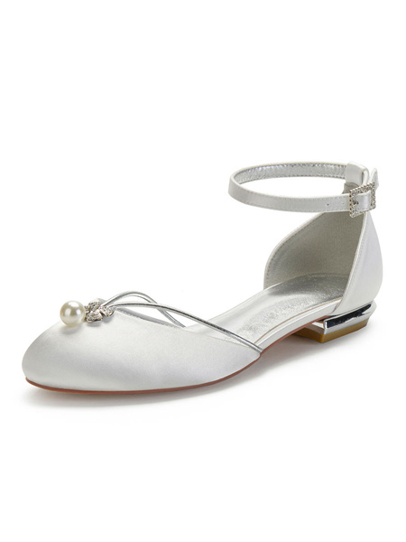 Milanoo Wedding Shoes White Satin Pearls Round Toe Flat Bridal Shoes