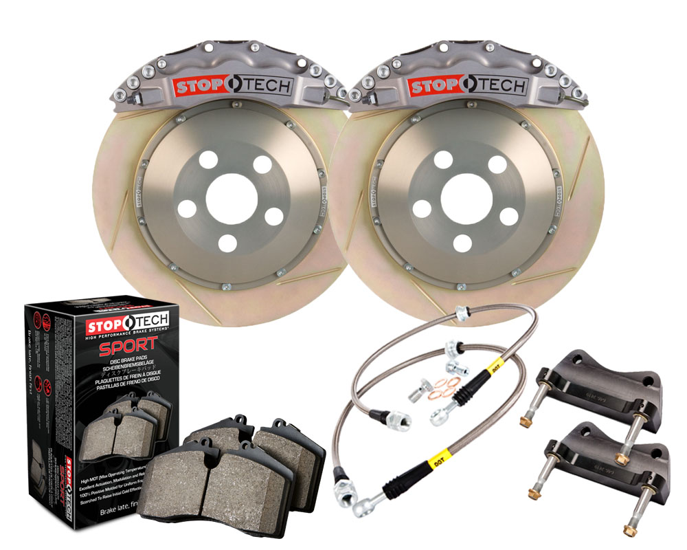 StopTech 83.896.6800.R3 Trophy Sport Big Brake Kit; Silver Caliper; Slotted 2 PieceRotor; Front Front