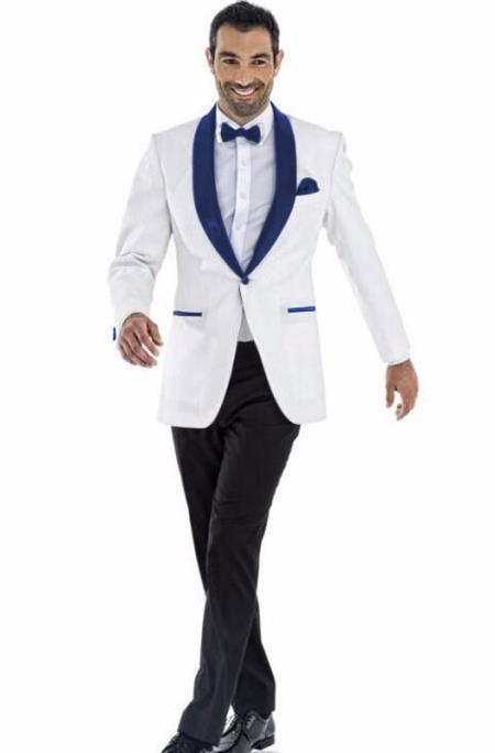 Men's 1 Button White and Dark Royal Shawl Lapel Wedding Tuxedo Suit