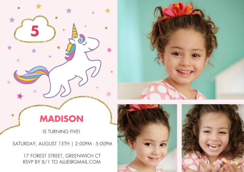Kids Birthday Party 5x7 Cards, Premium Cardstock 120lb with Rounded Corners, Card & Stationery -Birthday Invite Rainbow Unicorn Stars