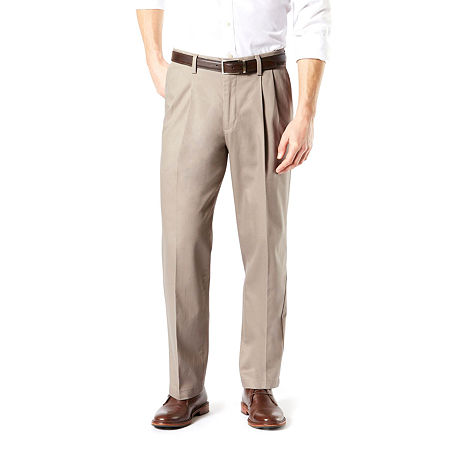 Dockers Men's Relaxed Fit Signature Khaki Lux Cotton Stretch Pants - Pleated D4, 42 30, Beige