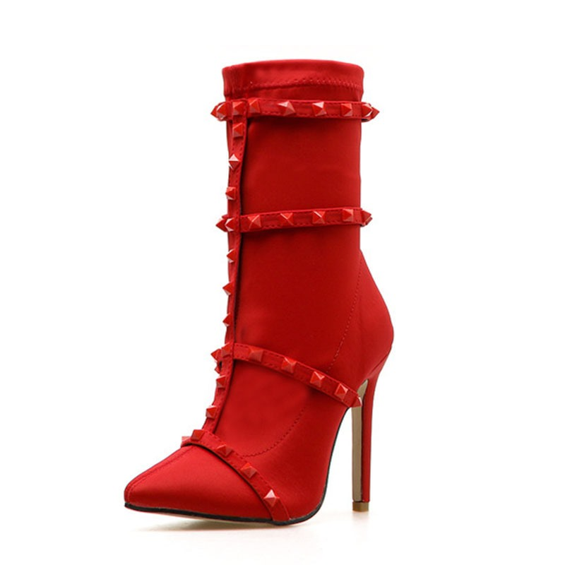 Ericdress Slip-On Stiletto Heel Plain Rivet Ankle Boots
