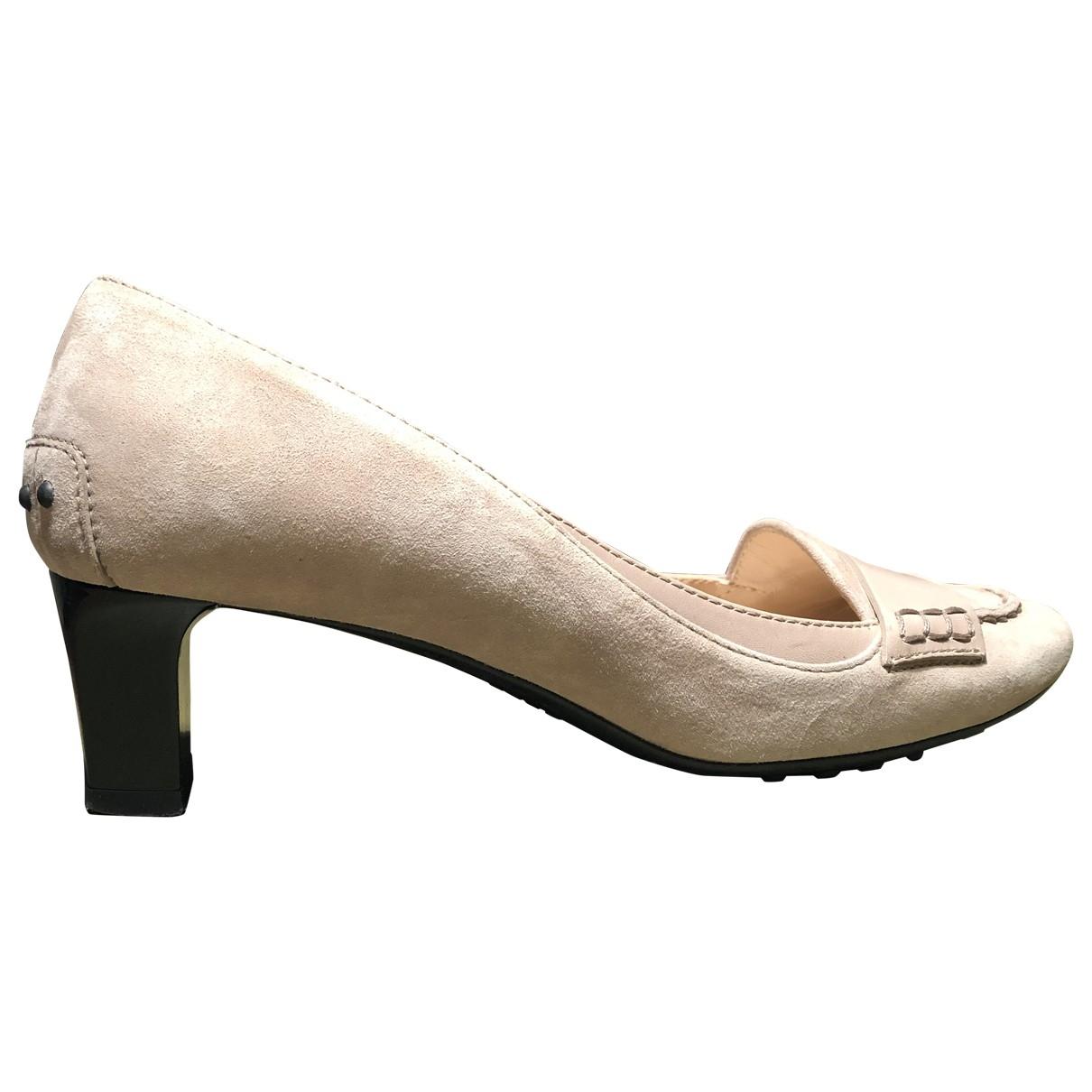 Tod's \N Ecru Suede Heels for Women 38.5 EU