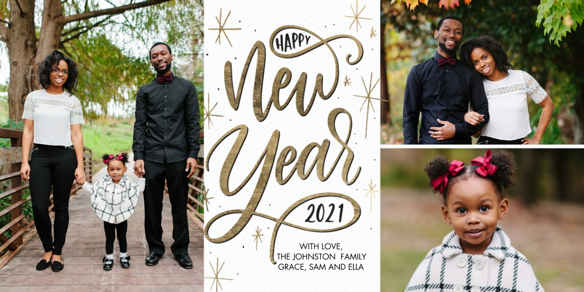 New Year's Photo Cards Flat Glossy Photo Paper Cards with Envelopes, 4x8, Card & Stationery -2021 New Year Gold Script by Tumbalina