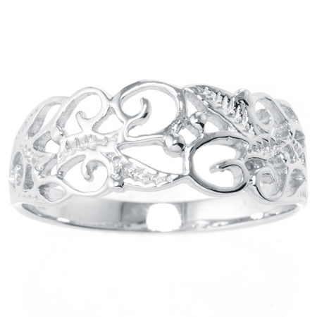 Silver Treasures Sterling Silver Filigree Vine Ring, 7 , White