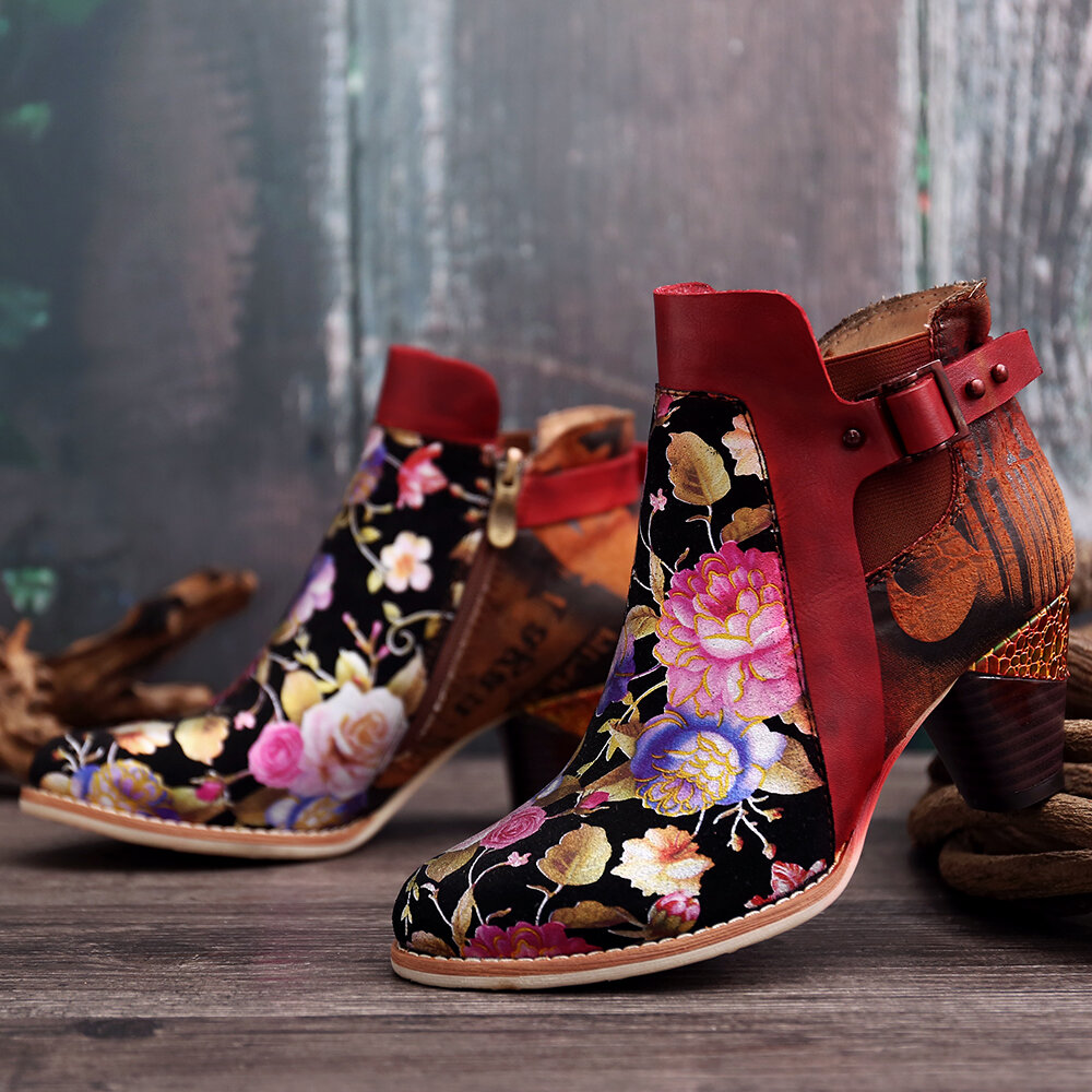 SOCOFY Retro Bloomed Flower Combine With Modern Style Letter Elegant Unique High Heel Boots
