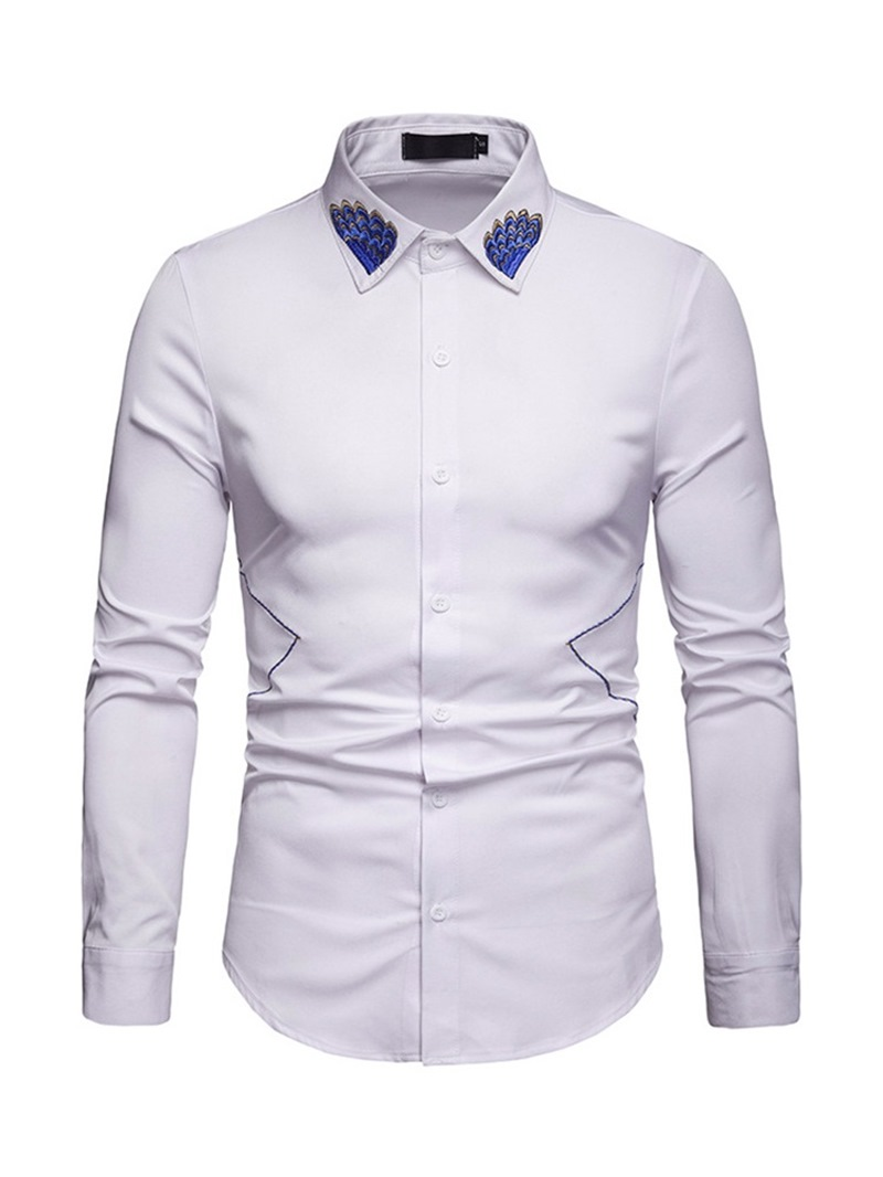 Ericdress Floral Embroidery Lapel Mens Shirt