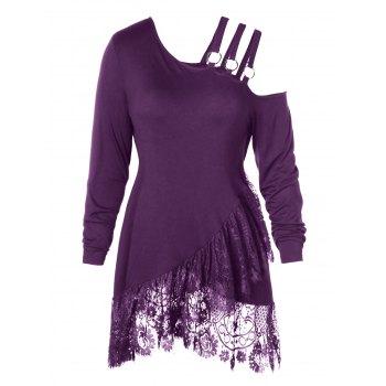Plus Size Lace Irregular Hem Belt Embellished T-shirt