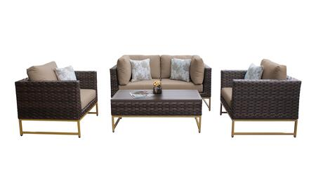 Barcelona BARCELONA-05c-GLD-WHEAT 5-Piece Patio Set 05c with 2 Corner Chairs  2 Club Chairs and 1 Coffee Table - Beige and Wheat Covers with Gold